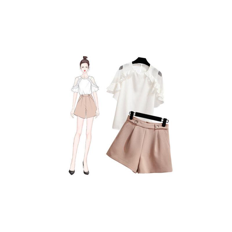 【618大促-每满100减50】洋气短裤套装 夏季女时髦女神小心机学生网红矮个子漏肩两件套装