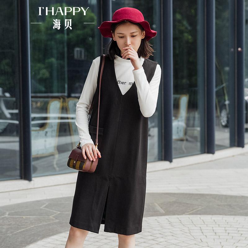 海贝2017冬季新款女装 黑色V领无袖开叉中长款马甲背心裙显瘦外搭