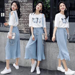 安妮纯2019夏装新款女装漏肩时尚T恤阔腿裤两件套时髦俏皮小心机套装女