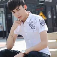 短袖衬衫男修身韩版个性印花百搭学生休闲潮流帅气夏季男衬衣