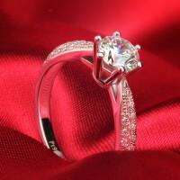 珠宝钻戒 女戒S925银钻石戒指 女情侣婚戒指环韩版 材质925银镀白金 8号-22号 现货即发