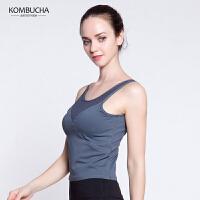 【女神特惠价】Kombucha瑜伽健身背心女士性感露脐拼纱速干透气美背健身跑步运动背心K0254