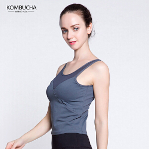 【新春特惠价】Kombucha瑜伽健身背心女士性感露脐拼纱速干透气美背健身跑步运动背心K0254
