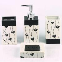 欧式陶瓷卫浴洗漱用品套装 浴室卫浴四件套花色随机