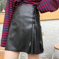 皮裙女潮原宿短裙复古绑带PU皮半身裙高腰显瘦A字包臀裙学生百搭