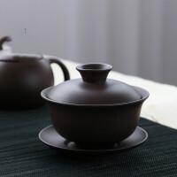 敬茶杯6只紫砂盖碗 功夫茶具茶备三才碗敬茶杯大号泡茶壶茶碗 红泥紫砂盖碗