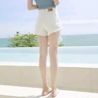 牛仔短裤女夏2018夏季新款韩版学生热裤毛边bf宽松高腰显瘦超短裤 白色