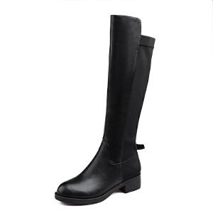 【冬季清仓】阿么修腿显瘦长靴保暖弹力高筒靴中跟及膝靴子女鞋子