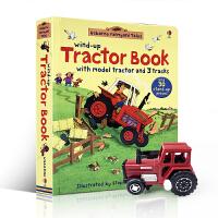 英文原版绘本 Wind-up Tractor Book 发条拖拉机轨道车儿童游戏玩具纸板书 附玩具 大开 启蒙早教娱乐