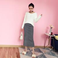 时尚套装女秋冬新款V领套头毛衣中长款针织半身裙两件套潮