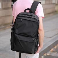 原创设计极简韩版双肩包男士百搭学院风学生书包多功能旅行背包潮 黑色