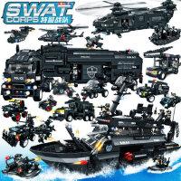 沃马legao特警益智拼装大型汽车飞机积木玩具儿童玩具男孩子模型