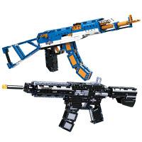 ??双鹰乐高积木枪可以发射武器拼装玩具手抢可射儿童益智连发男孩