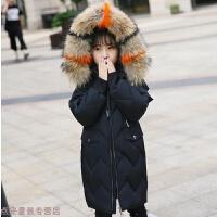 冬季儿童羽绒服2018冬季韩版中大童女童加厚白鸭绒毛领中长款外套秋冬新款
