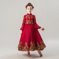 女童公主裙婚纱生日蓬蓬纱儿童钢琴演出服小主持人晚礼服花童长袖 喇叭袖