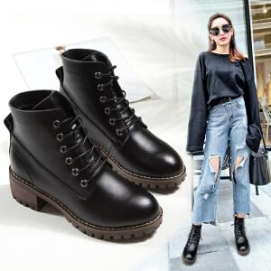 ZHR2017秋冬新款粗跟短靴英伦风马丁靴女复古单靴真皮高跟女靴子E107