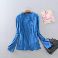 春秋款女装时尚百搭上衣 欧美个性斜拉链棉质大码外套J4