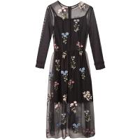 两件套连衣裙2018秋冬季新款韩版性感气质裙子绣花黑色中长裙女士 黑色 L