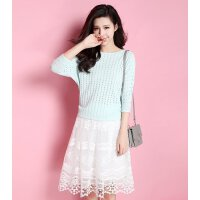 拉夏贝尔 优雅短七分袖T恤蕾丝短裙套装10009599