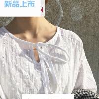 春装韩版甜美chic长袖蕾丝钩花领口细带衬衫女微透打底衫