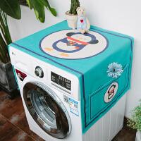 滚筒洗衣机罩冰箱盖布防尘防晒罩防水盖巾微波炉北欧风床头柜棉麻 防尘防晒---蓝企鹅 ( ) 65*180( 升级防水