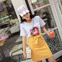 时尚套装潮 夏季新品白色卡通T恤高腰A字裙一步裙糖果色半身裙女