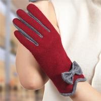 羊毛布手套女士优雅时尚骑行车触控屏保暖手套