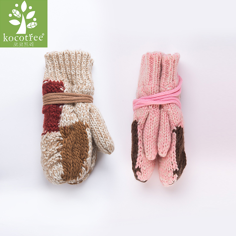 kk树儿童手套宝宝手套冬保暖可爱女童手套秋冬时尚连指手套亲肤舒适 防风保暖