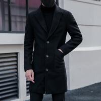 学生潮流风衣潮男帅气呢料外套秋冬款韩版修身中长款男士毛呢大衣