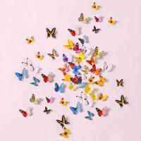 立体墙贴 彩色仿真3D蝴蝶装饰 客厅电视背景墙贴冰箱贴19只套装