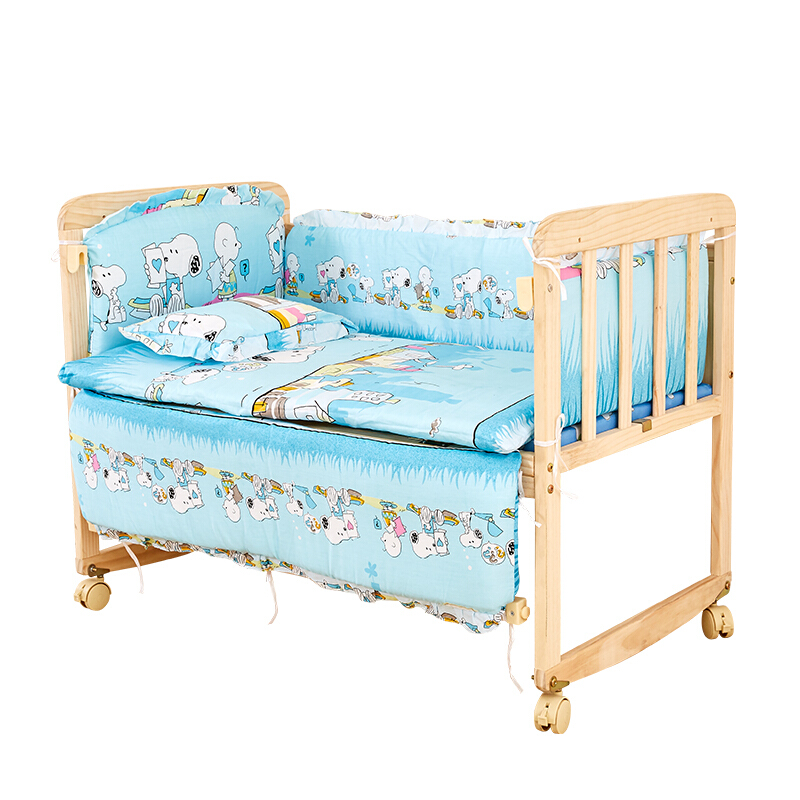 实木婴儿床无漆环保宝宝摇床可移动可拼接大床新品BB摇篮床