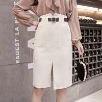 a字裙半身裙中长款chic裙子女春装新款高腰修身显瘦包臀裙一步裙