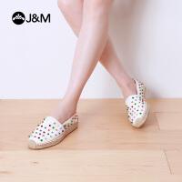 jm快乐玛丽帆布鞋夏季潮低帮麻底铆钉休闲套脚渔夫鞋女鞋子01279W