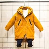 冬季男童加厚保暖儿童中长款棉衣冬装新款宝宝连帽外套潮秋冬新款