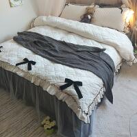 秋冬季加厚加绒四件套公主风绒保暖夹棉床上珊瑚绒韩式床裙款 床裙1.2x2米 被套1.5x2米