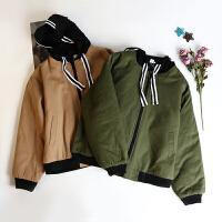 韩版冬季新款女装时尚潮流外出连帽外套贴布夹棉棒球服 LY25206
