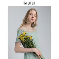 【5折价199.5】Lagogo/拉谷谷2018秋季新款拼接荷叶边薄荷绿雪纺短袖连衣裙女