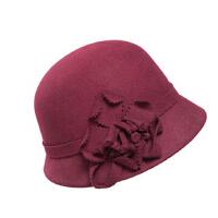 秋冬季帽子羊毛呢帽 女礼帽女士 韩版保暖盆帽毡帽渔夫帽冬天帽子
