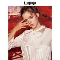 Lagogo/拉谷谷2019秋季新款珠光宫廷优雅长袖白色衬衫上衣女HCSS538A15