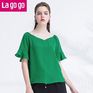 Lagogo/拉谷谷2017夏季新款女装纯色荷叶袖V领上衣百搭雪纺衫女
