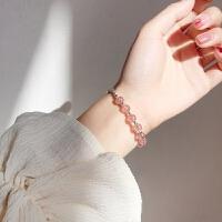 清新草莓色转运珠水晶S925银手链刻花手镯甜美饰品礼物女