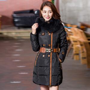 【一件三折 到手价:209.7】雅鹿新款时尚个性中长款羽绒服女 连帽保暖大毛领冬装外套潮