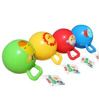 费雪 4寸摇铃球手柄球皮球充气铃铛拍拍球加厚婴幼儿手抓益智玩具