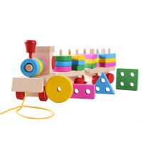 拖拉三节小火车木制拆装螺母形状配对早教玩具活动