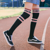 2018春季季韩版学院风明星百搭星星条纹高长筒过膝打底裤袜子 均码