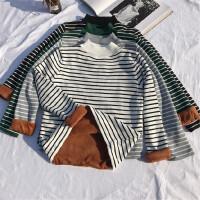 秋冬季女装新款韩版修身加厚毛衣潮百搭条纹高领打底针织衫加绒女