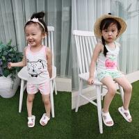 女童夏装新款 儿童背心短裤运动套装女宝宝可爱家居服
