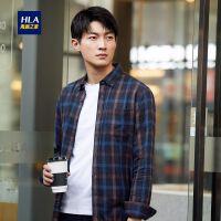 HLA/海澜之家时尚格纹长袖衬衫2019秋季新品舒适德绒休闲衬衫男