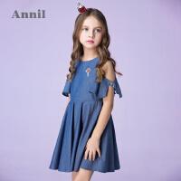 【3件3折:120】安奈儿童装女童印花露肩印花连衣裙夏装新款