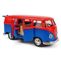 大巴公交汽车模型儿童玩具车1:36仿真大众T1巴士合金车模